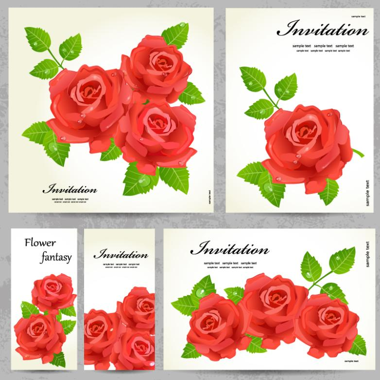 Red rose free vectorpsd download ipcdr red rose invitation cards stopboris Image collections